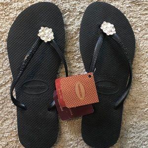 Women's Havaianas Sandals. Black w/ Jewels 37-38